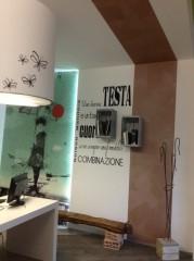 decori scritta e farfalle showroom