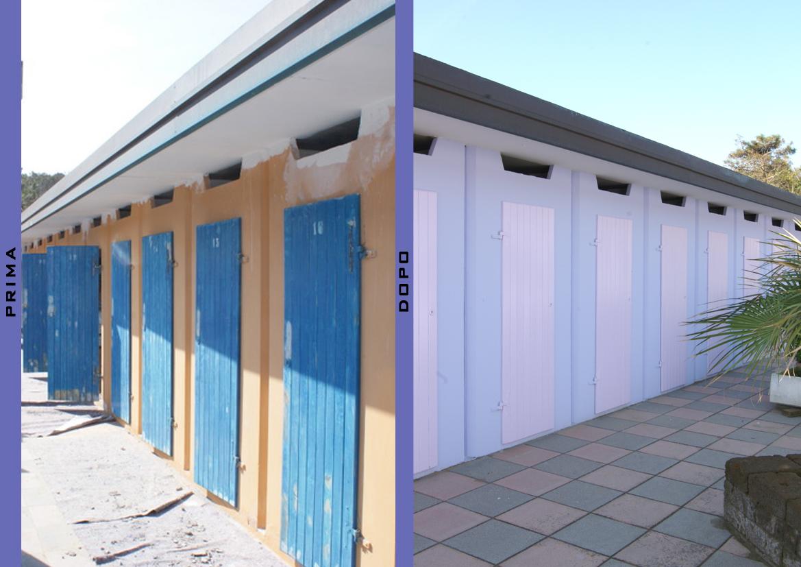 Prima e dopo Cabine (stabilimento balneare a Pinarella)