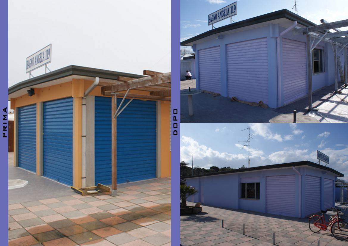 Prima e dopo (stabilimento balneare a Pinarella)
