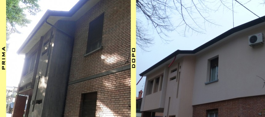 Isolamento esterno applicato ad un'abitazione privata